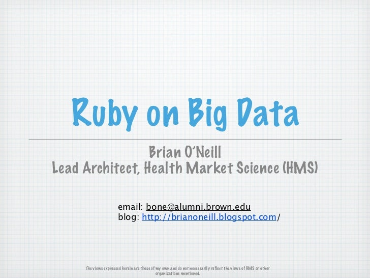 Ruby on Big Data @ Philly Ruby Group
