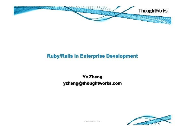 Ruby In Enterprise Development