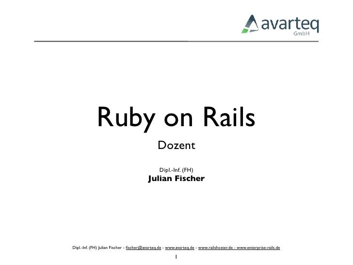 Ruby On Rails Vorlesung 1 Rails Überblick
