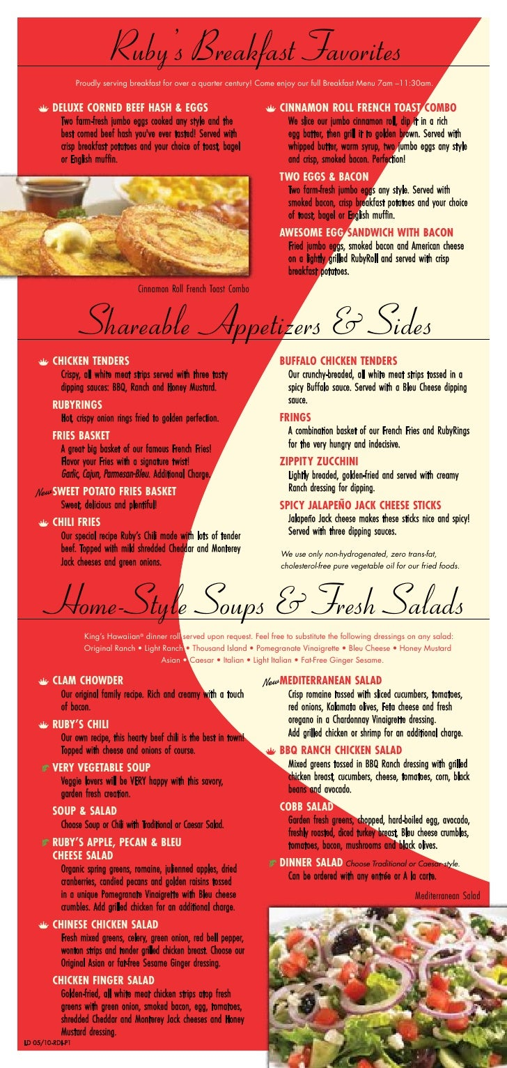 Ruby's Diner - Lunch-Dinner Menu - May 2010