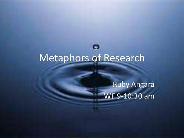 Metaphors of Research             Ruby Angara            WF 9-10:30 am