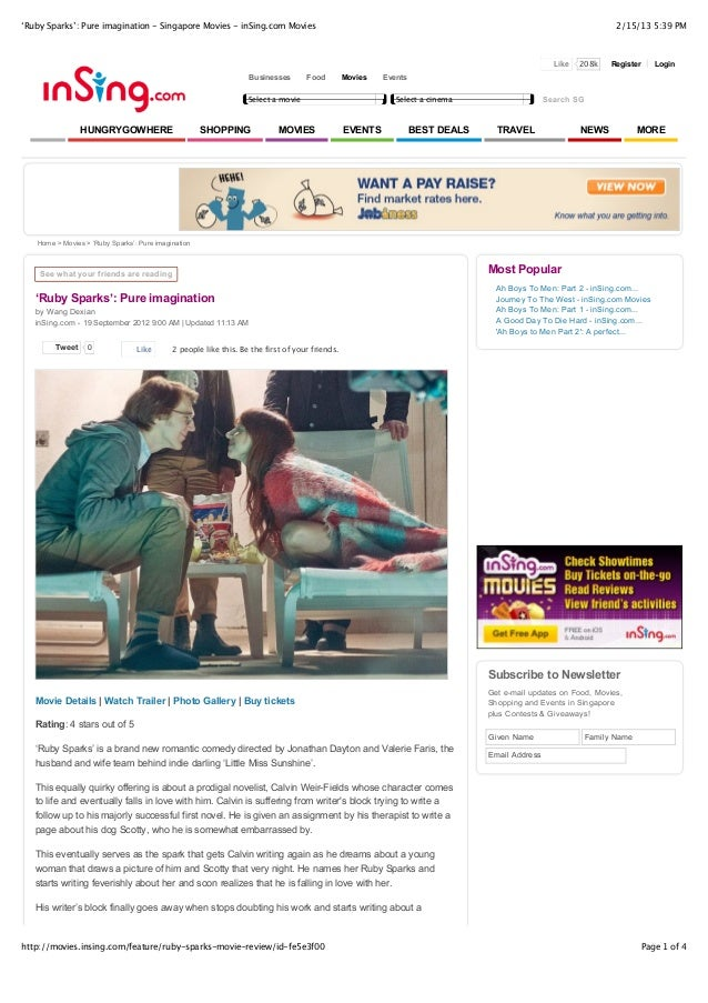 'Ruby sparks': pure imagination   singapore movies - in sing.com movies