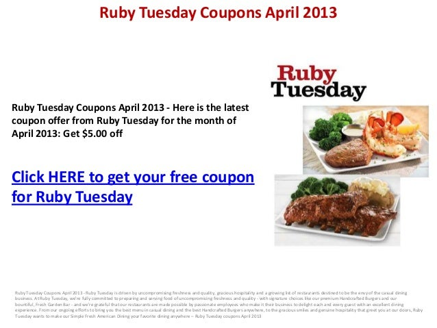 Ruby tuesday coupons 2019