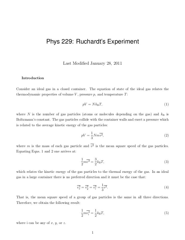 Phys 229: Ruchardt's Experiment                               Last Modified January 28, 2011   IntroductionConsider an idea...