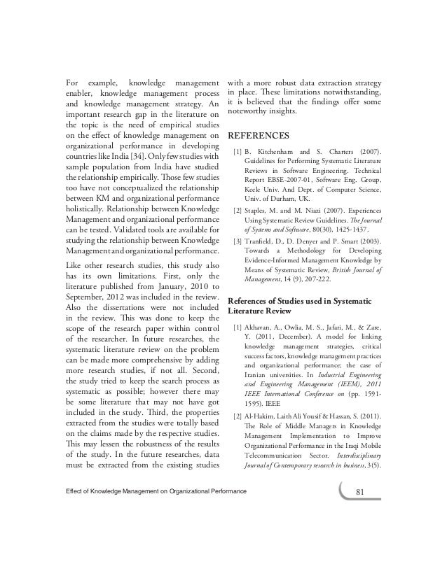 Literature review on management