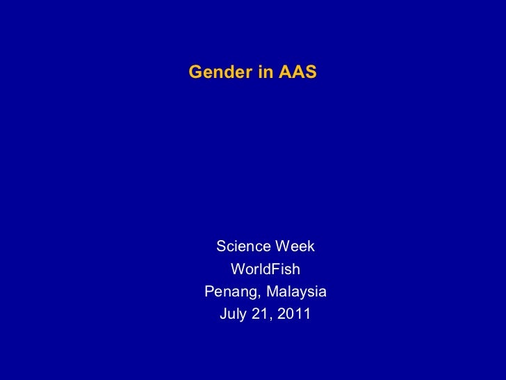 Workshop: Gender in Aquatic Agricultural Systems