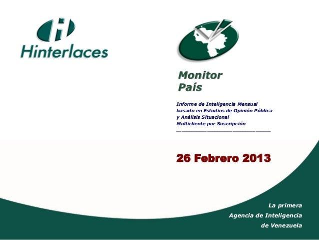 MonitorPaísInforme de Inteligencia Mensualbasado en Estudios de Opinión Públicay Análisis SituacionalMulticliente por Susc...