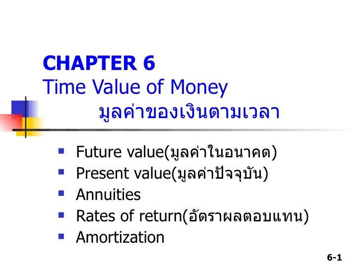 CHAPTER 6 Time Value of Money  มูลค่าของเงินตามเวลา <ul><li>Future value( มูลค่าในอนาคต ) </li></ul><ul><li>Present value ...