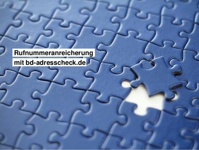 Rufnummeranreicherung mit bd-adresscheck.de