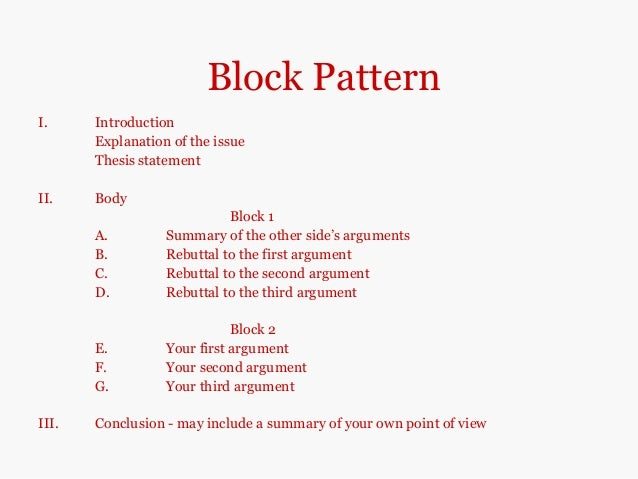 patterns of argumentative essay Argumentative essay writing tips on format, outline, structure, topics, and example essays  read more here the argumentative essay is a genre of writing that requires the student to investigate a topic collect, generate, and evaluate evidence and establish a position on the topic in a concise.