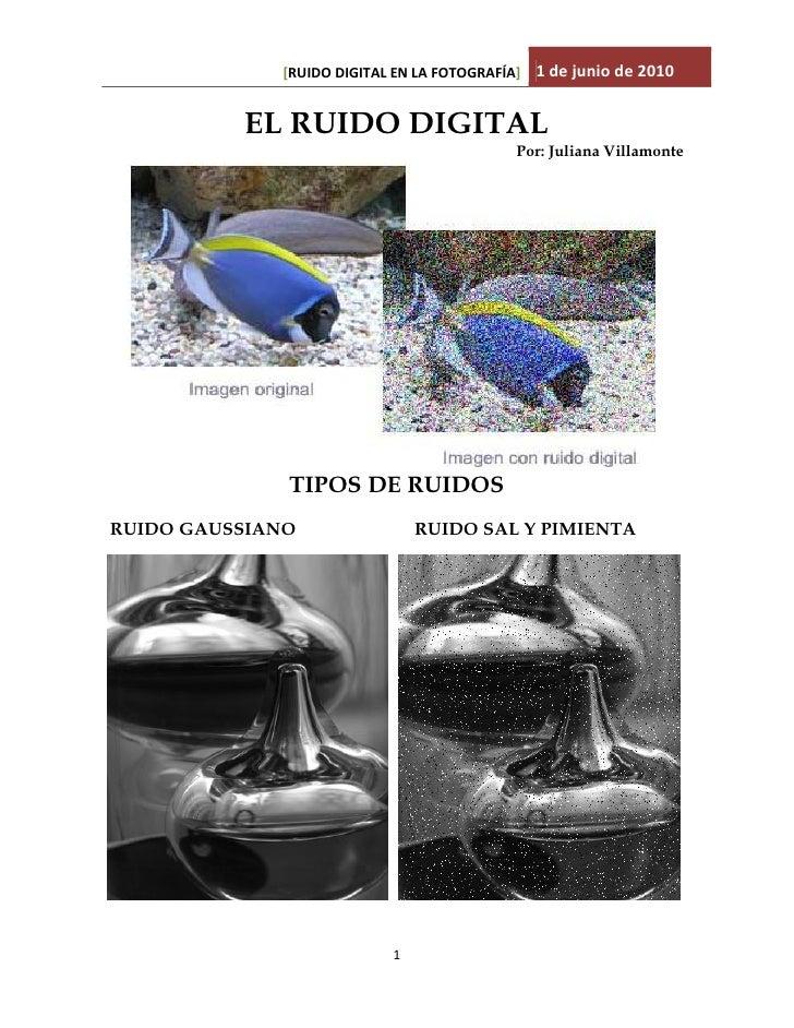 [RUIDO DIGITAL EN LA FOTOGRAFÍA] 1 de junio de 2010             EL RUIDO DIGITAL                                          ...