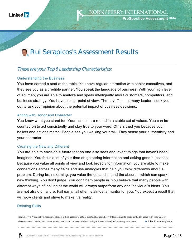 Rui Serapicos prospective assessment