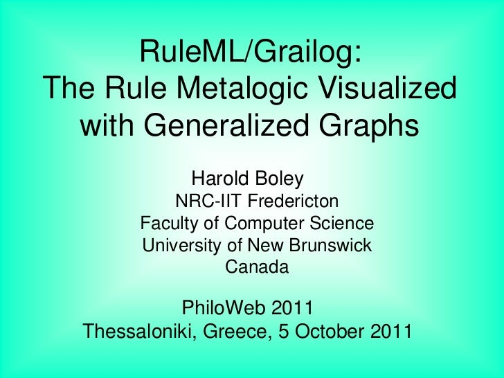 RuleML/Grailog:The Rule Metalogic Visualized  with Generalized Graphs             Harold Boley            NRC-IIT Frederic...