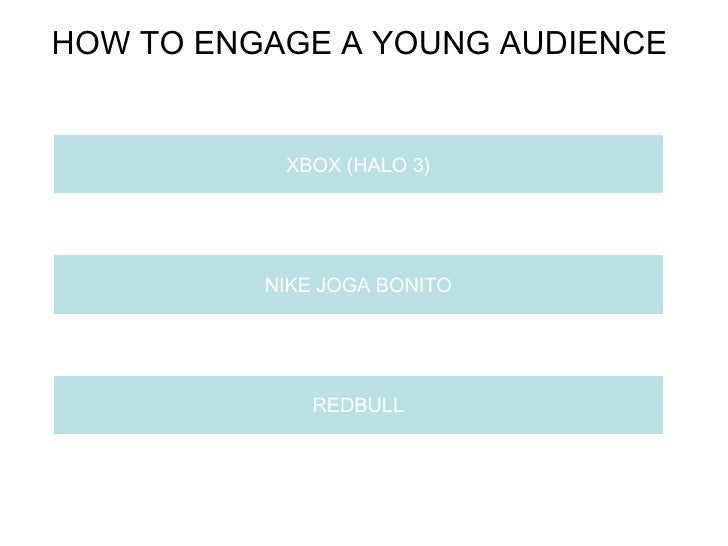 HOW TO ENGAGE A YOUNG AUDIENCE  XBOX (HALO 3) NIKE JOGA BONITO REDBULL