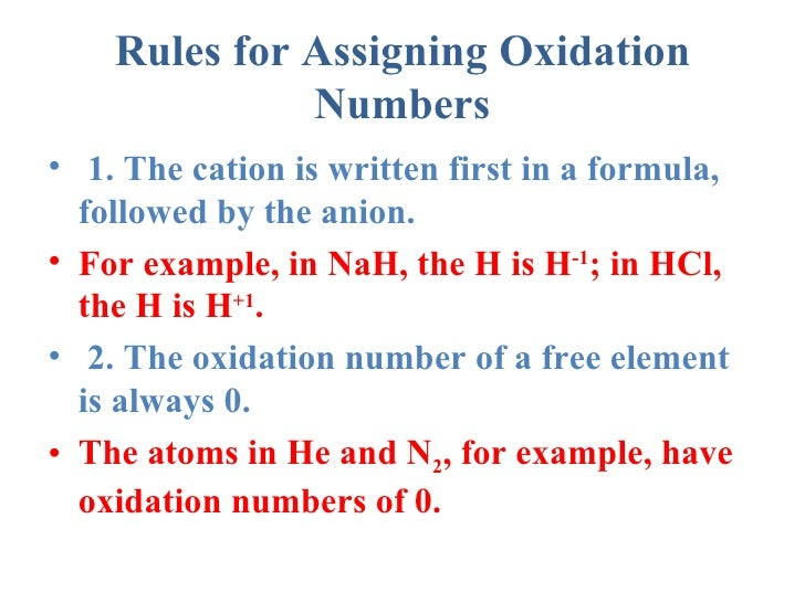 assigning oxidation numbers Assigning oxidation numbers this is a basic exercise in assigning oxidation numbers to simple compounds and ions when you press new problem, a compound will be displayed and you will be asked to assign an oxidation number to one of the atoms present.