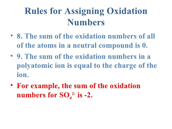 rules for assigning oxidation numbers for dummies