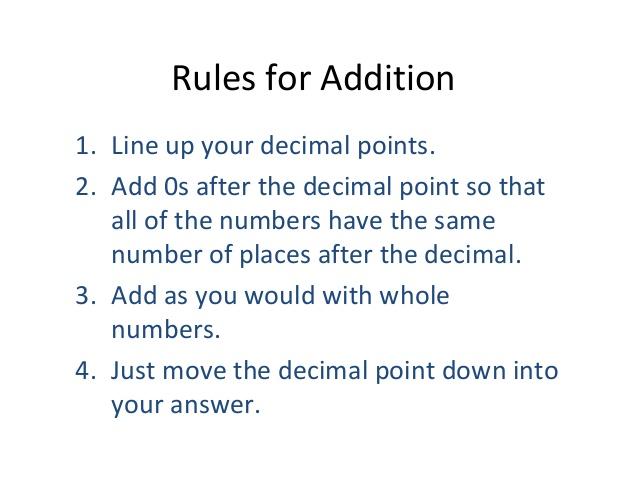 Addition Of Decimals - Lessons - TES Teach