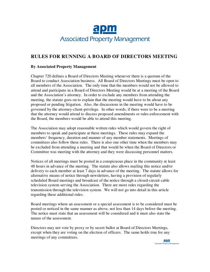 RULES FOR RUNNING A BOARD OF DIRECTORS MEETING By Associated Property Management  Chapter 720 defines a Board of Directors...