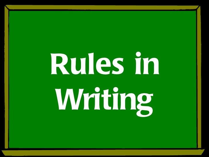 Rules inWriting