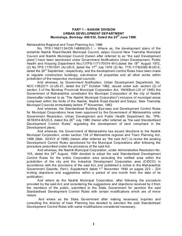 PART 1 – NASHIK DIVISION URBAN DEVELOPMENT DEPARTMENT Mantralaya, Bombay- 400 032, Dated the 20th June 1988. Maharashtra R...