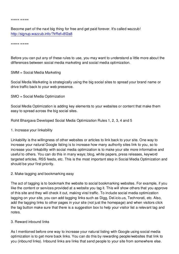 Rules of Social Media Optimization