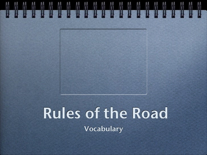 Rules of the Road      Vocabulary