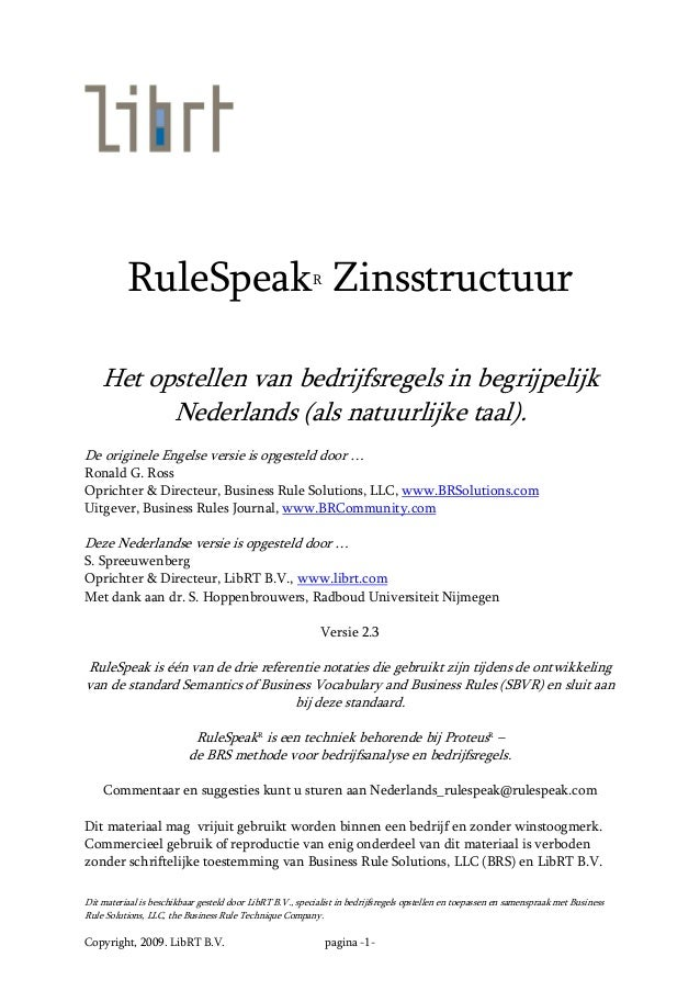 Dit materiaal is beschikbaar gesteld door LibRT B.V., specialist in bedrijfsregels opstellen en toepassen en samenspraak m...