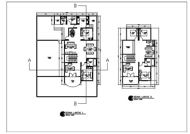 rumah 2 lantai denah