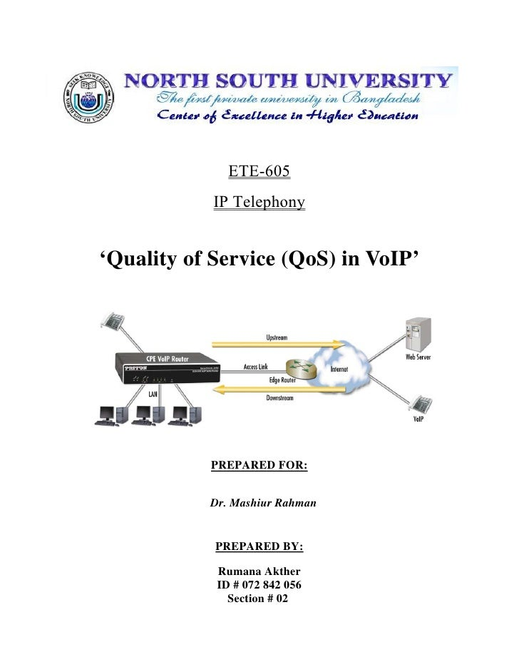 ETE-605             IP Telephony   'Quality of Service (QoS) in VoIP'                PREPARED FOR:              Dr. Mashiu...