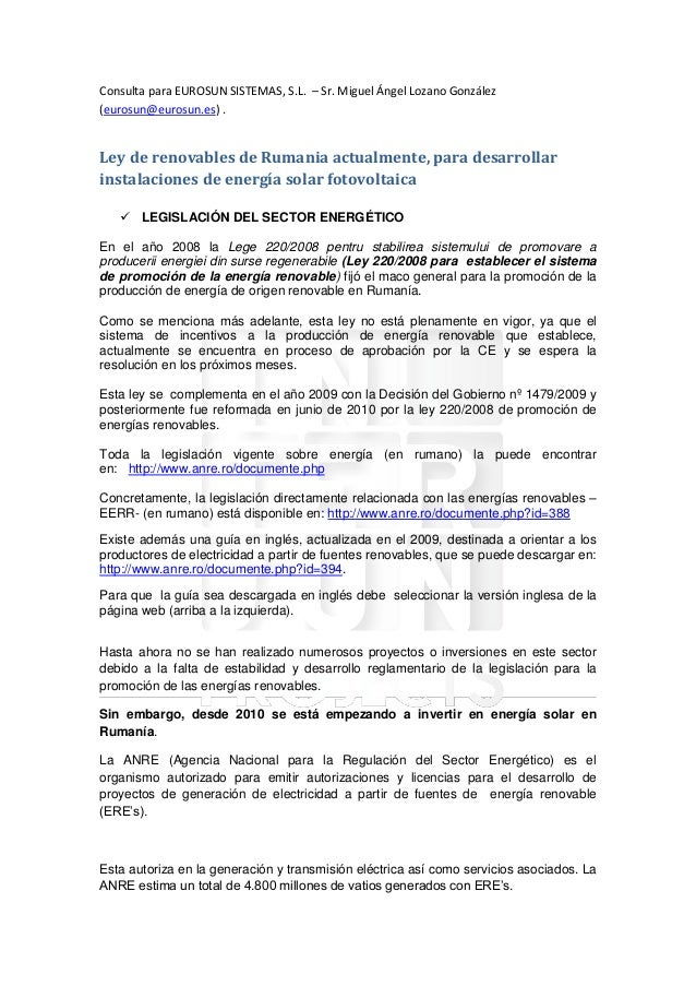 Consulta para EUROSUN SISTEMAS, S.L. – Sr. Miguel Ángel Lozano González (eurosun@eurosun.es) . Ley de renovables de Rumani...