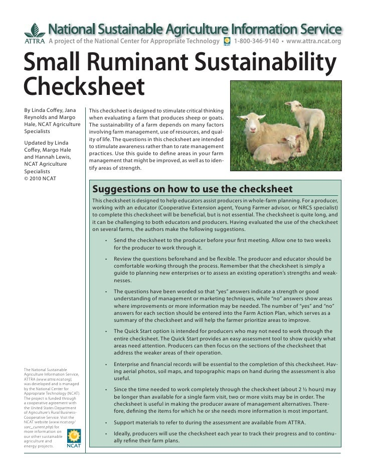 Small Ruminant Sustainability Checksheet