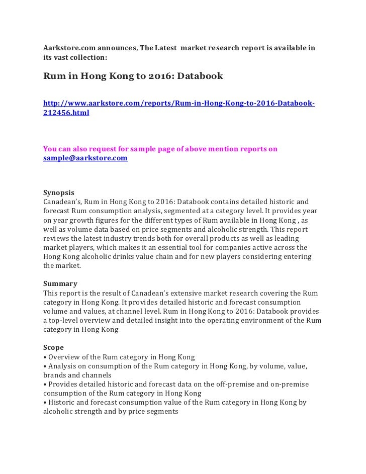 Rum in hong kong to 2016 databook