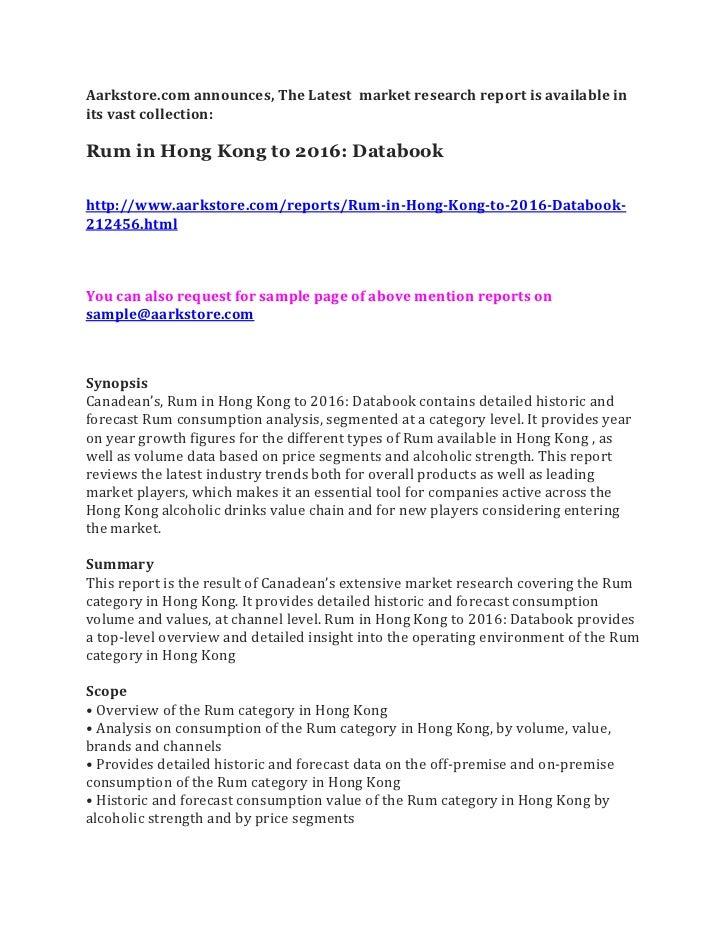 Rum in hong kong to 2016 databook