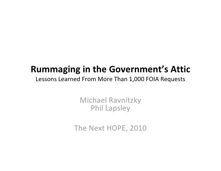 Rummaging in the Government's Attic: Lessons Learned From More Than 1,000 FOIA Requests