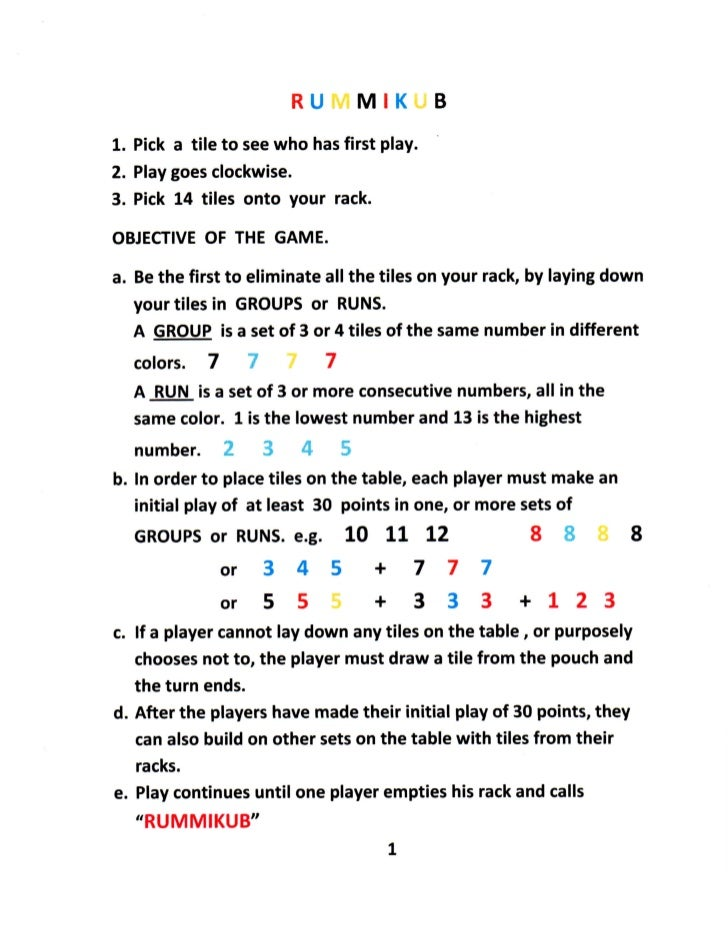 rules for rummikub