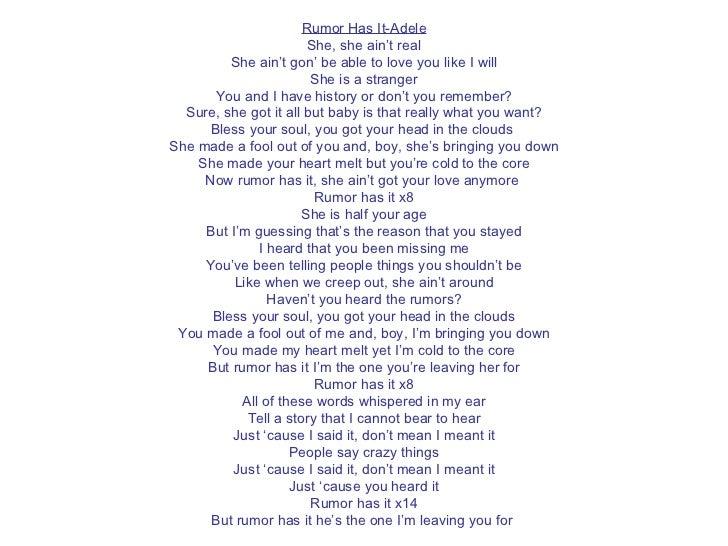 Adele rumor has it lyrics download