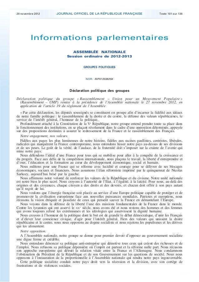 28 novembre 2012           JOURNAL OFFICIEL DE LA RÉPUBLIQUE FRANÇAISE                             Texte 101 sur 138      ...