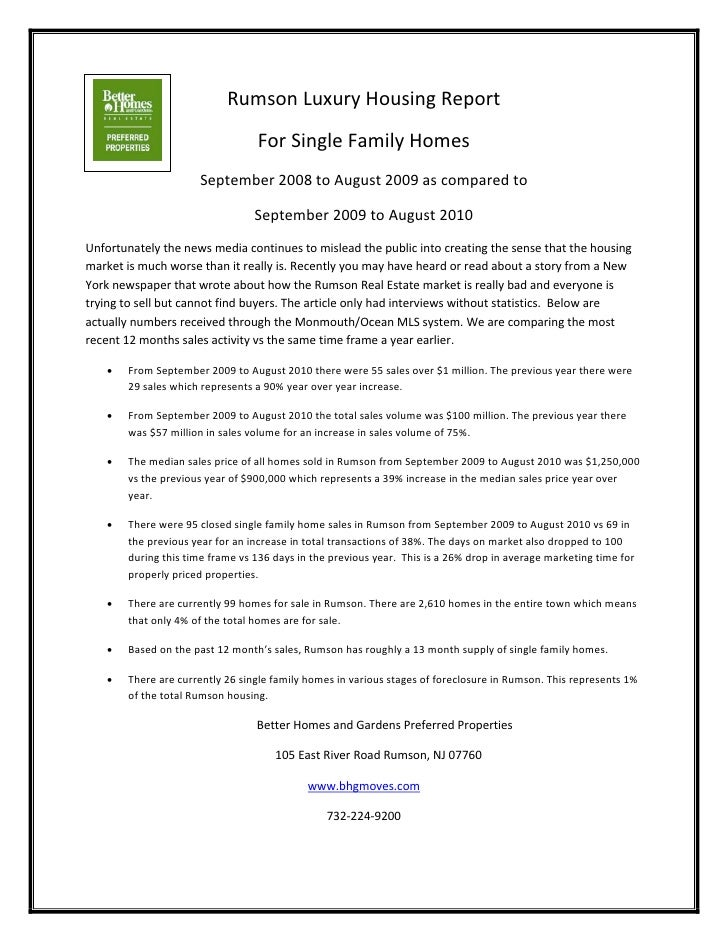 Rumson Luxury Housing Report                                  For Single Family Homes                      September 2008 ...