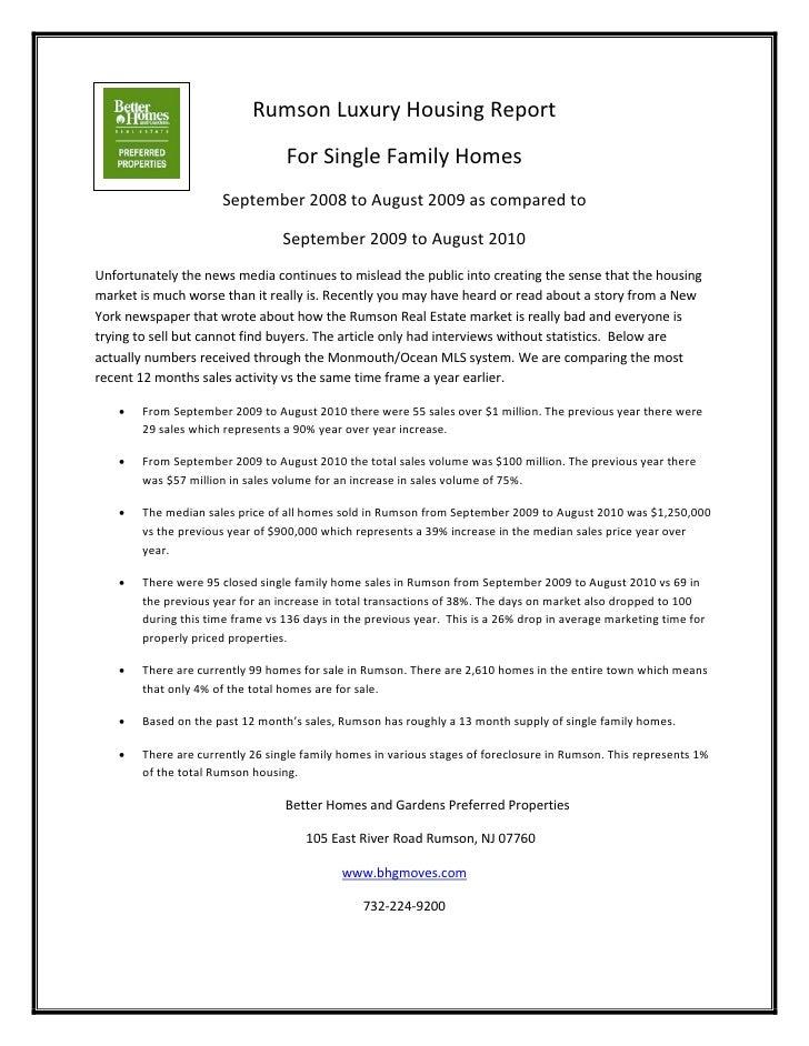 Rumson Luxury Housing Report 9 1 10