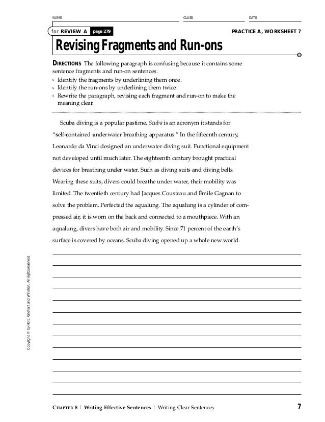 English worksheets: Fragments, run-on sentences and comma splices test