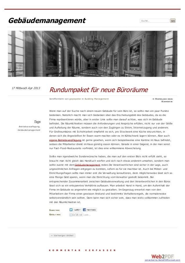 Gebäudemanagement                                                                                       Suche…            ...