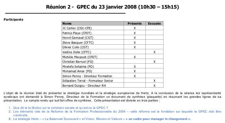 Réunion 2 - GPEC du 23 janvier 2008 (10h30 – 15h15)Participants                                       Noms                ...