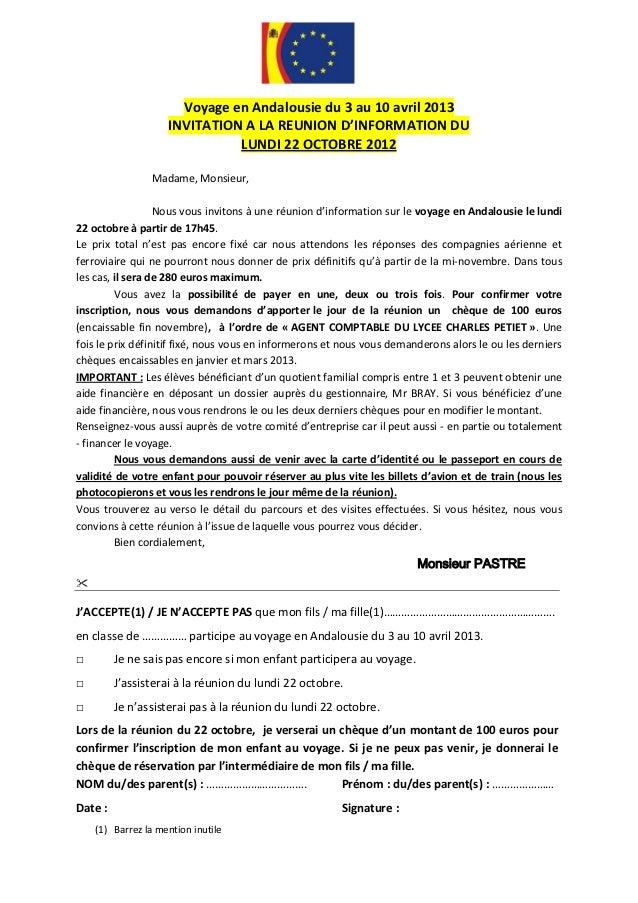Voyage en Andalousie du 3 au 10 avril 2013                    INVITATION A LA REUNION D'INFORMATION DU                    ...