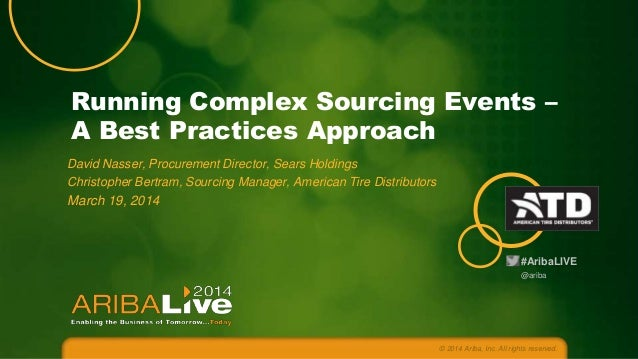Running Complex Sourcing Events – A Best Practices Approach David Nasser, Procurement Director, Sears Holdings Christopher...