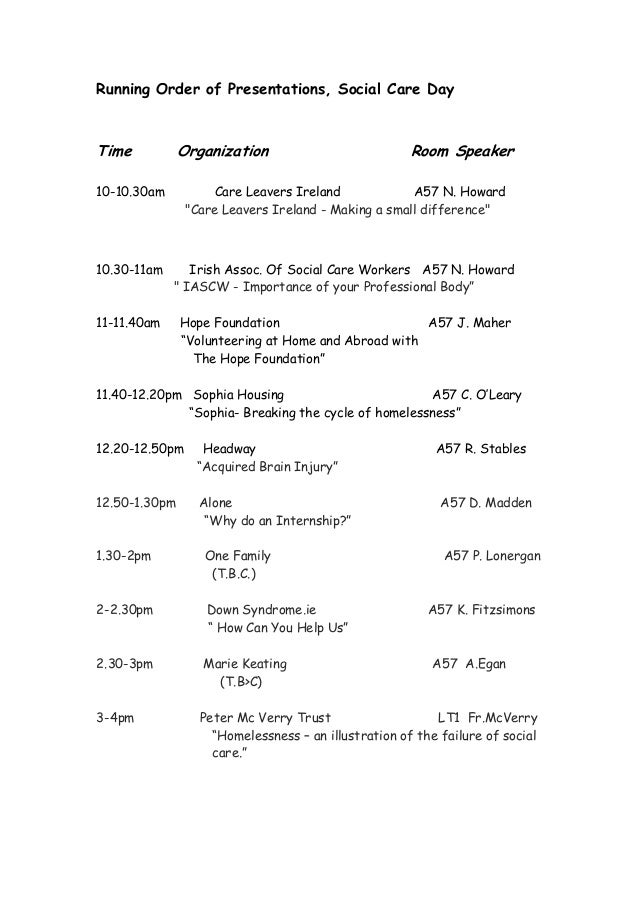 Running Order of Presentations, Social Care Day Time Organization Room Speaker 10-10.30am Care Leavers Ireland A57 N. Howa...