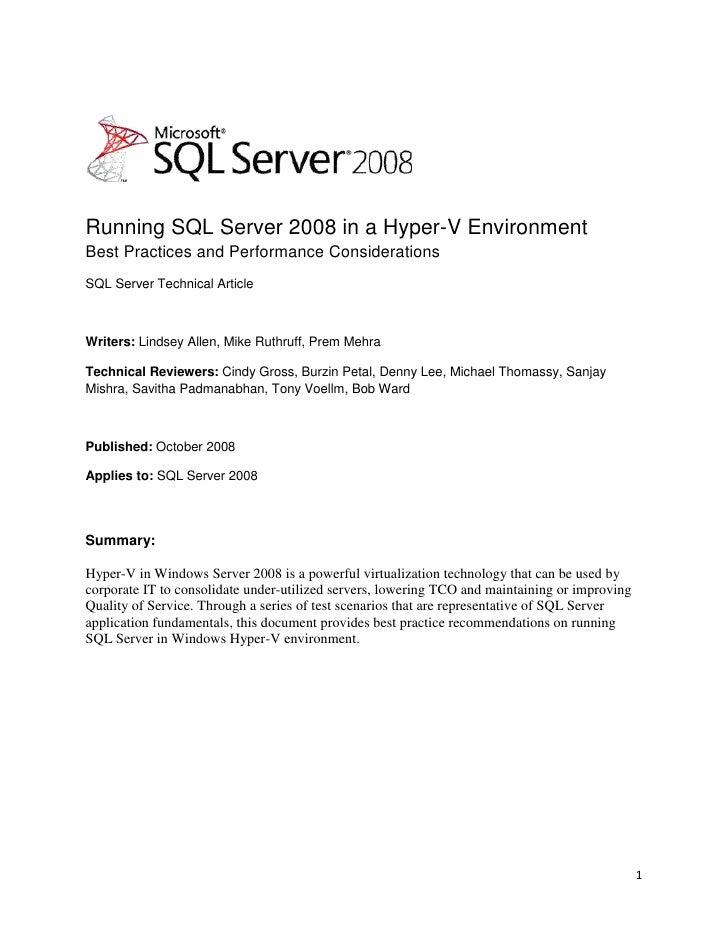 Running Sql2008 In Hyper V2008