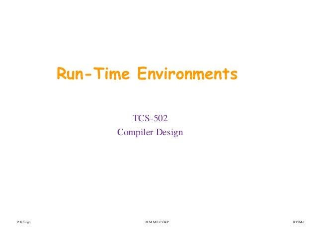 Run-Time EnvironmentsRun Time Environments TCS-502 Compiler Design P K Singh M M M E C GKP RTSM-1