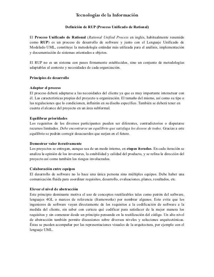 Tecnologías de la Información                        Definición de RUP (Proceso Unificado de Rational)El Proceso Unificado...
