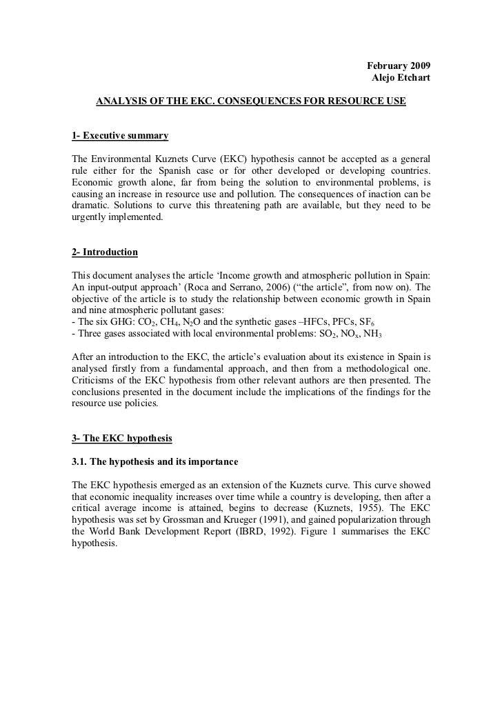 EKC Analysis For Resource Use