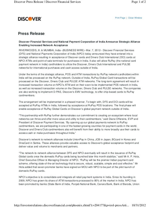 Discover Press Release | Discover Financial Services                                                    Page 1 of 2       ...